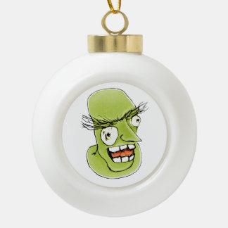 Hombre de monstruo enojado con la expresión adorno de cerámica en forma de bola