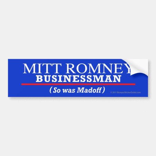 Hombre de negocios Anti-Romney del pegatina Pegatina Para Auto