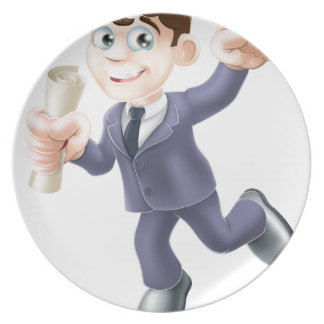 Hombre de negocios con la voluta plato