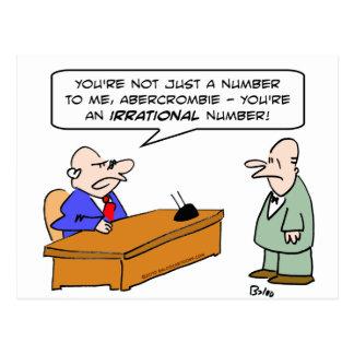 hombre de negocios del número irracional del jefe tarjeta postal