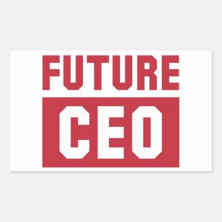 Hombre de negocios futuro del director general del pegatina rectangular