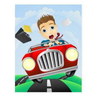 Hombre de negocios joven que conduce el coche clás tarjetas postales