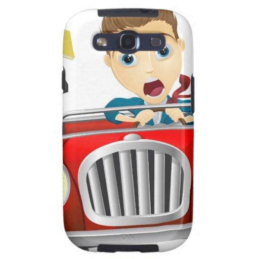 Hombre de negocios que conduce el coche galaxy s3 cobertura