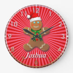 Hombre de pan de jengibre adaptable reloj redondo grande