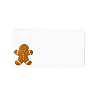 Hombre de pan de jengibre aislado en el fondo blan etiquetas de dirección