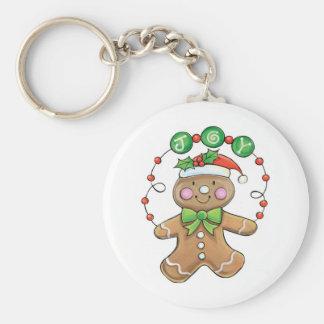 """Hombre de pan de jengibre """"alegría"""" para el navida llavero redondo tipo pin"""