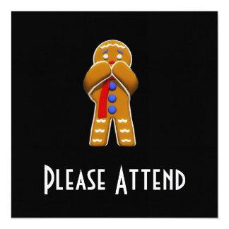 """Hombre de pan de jengibre - asustado - colores invitación 5.25"""" x 5.25"""""""