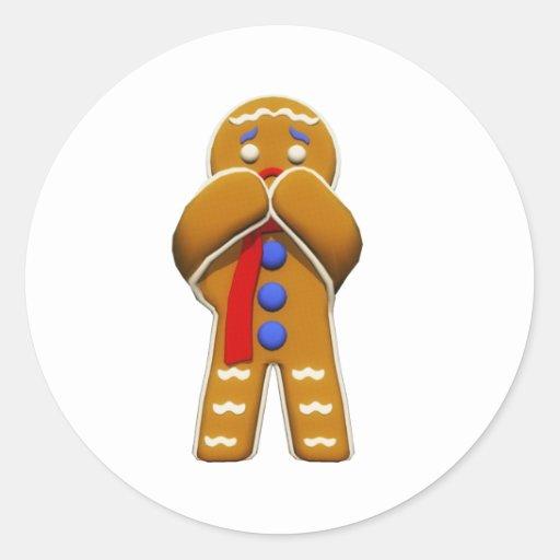 Hombre de pan de jengibre - asustado - colores ori etiquetas