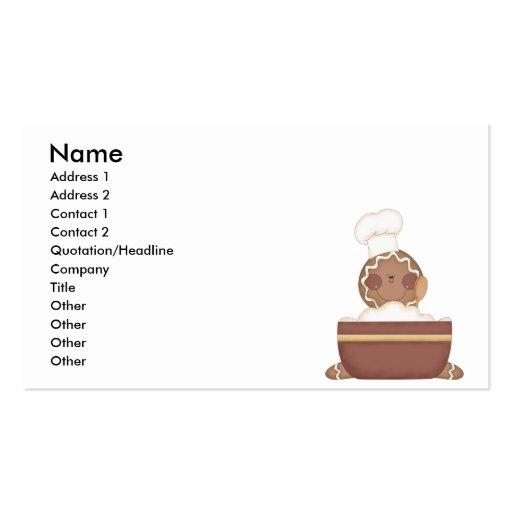 hombre de pan de jengibre de la hornada tarjetas de visita