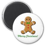 Hombre de pan de jengibre de las Felices Navidad Iman De Frigorífico