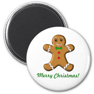Hombre de pan de jengibre de las Felices Navidad Imán Redondo 5 Cm