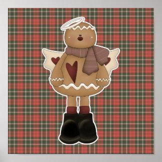 hombre de pan de jengibre del ángel del navidad póster