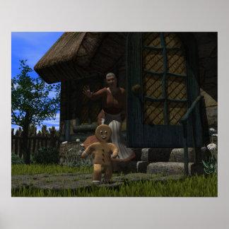Hombre de pan de jengibre del fugitivo póster