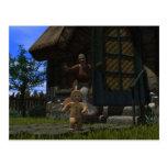 Hombre de pan de jengibre del fugitivo tarjeta postal