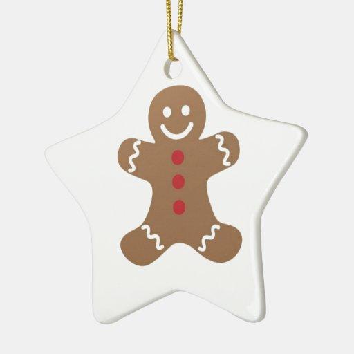 Hombre de pan de jengibre del navidad adorno navideño de cerámica en forma de estrella