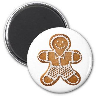 Hombre de pan de jengibre del navidad imán redondo 5 cm