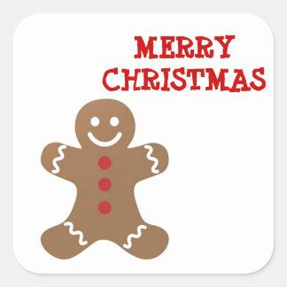Hombre de pan de jengibre del navidad pegatina cuadrada