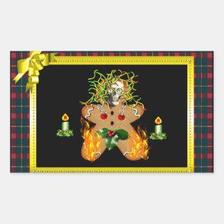 Hombre de pan de jengibre espeluznante rectangular pegatinas
