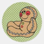 Hombre de pan de jengibre etiquetas redondas