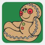 Hombre de pan de jengibre pegatina cuadrada