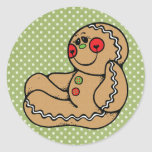 Hombre de pan de jengibre pegatina redonda
