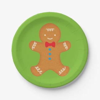 Hombre de pan de jengibre plato de papel de 7 pulgadas