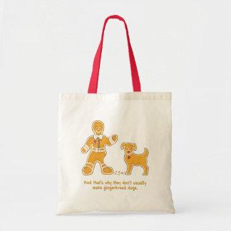 Hombre de pan de jengibre y perro divertidos para bolsa tela barata