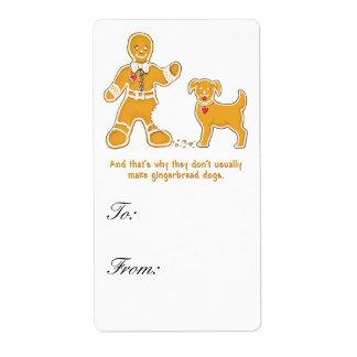 Hombre de pan de jengibre y perro divertidos para  etiquetas de envío
