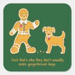 Hombre de pan de jengibre y perro divertidos para calcomanías cuadradas personalizadas