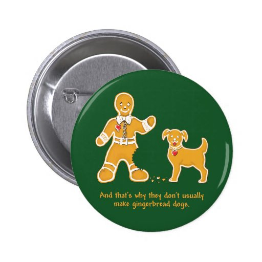Hombre de pan de jengibre y perro divertidos para  pin