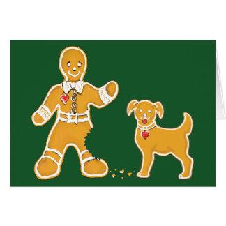 Hombre de pan de jengibre y perro divertidos para tarjeta de felicitación