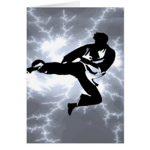 Hombre de plata del relámpago de los artes marcial tarjeta