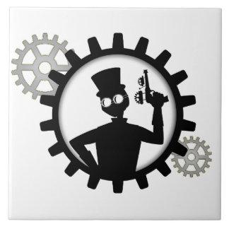 Hombre de Steampunk que sostiene el arma en Azulejo Cuadrado Grande