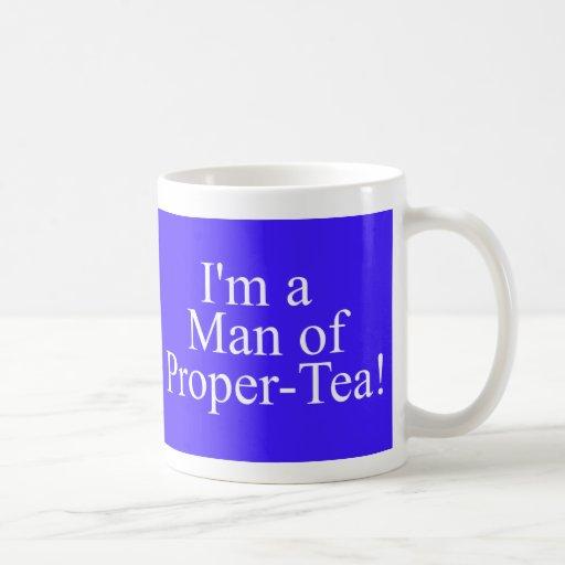 hombre de té apropiado azul marino taza básica blanca