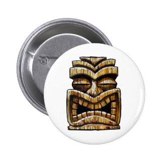 Hombre de Tiki Pin Redondo De 2 Pulgadas