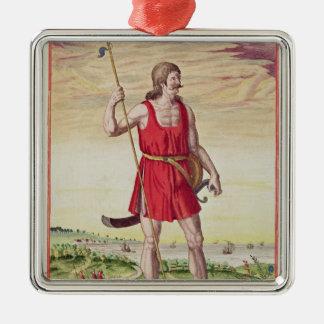 Hombre de una tribu vecina al Picts Adorno Cuadrado Plateado