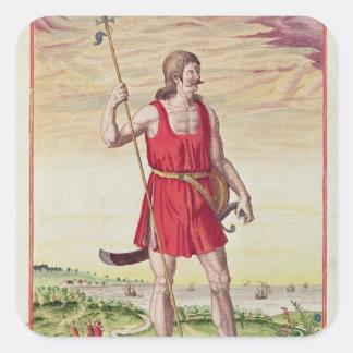 Hombre de una tribu vecina al Picts Pegatina Cuadrada