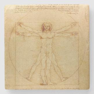 Hombre de Vitruvian de da Vinci Posavasos De Piedra