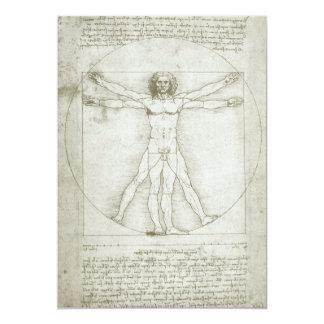 """Hombre de Vitruvian de Leonardo da Vinci Invitación 5"""" X 7"""""""