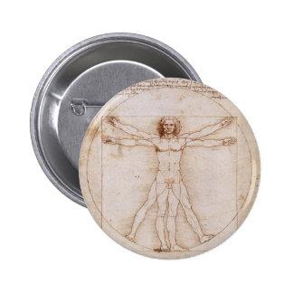 Hombre de Vitruvian de Leonardo da Vinci Pin Redondo 5 Cm