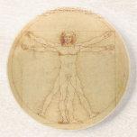 Hombre de Vitruvian de Leonardo da Vinci Posavasos Cerveza