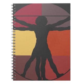 Hombre de Vitruvian del bloque del color Libros De Apuntes Con Espiral