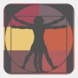 Hombre de Vitruvian del bloque del color Calcomanía Cuadradas Personalizada