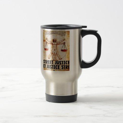 Hombre de Vitruvian por la justicia de la calle Tazas De Café