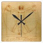 Hombre de Vitruvian Reloj Cuadrado