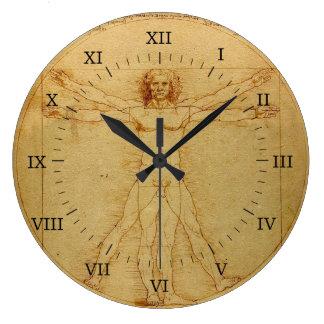 Hombre de Vitruvian Reloj Redondo Grande