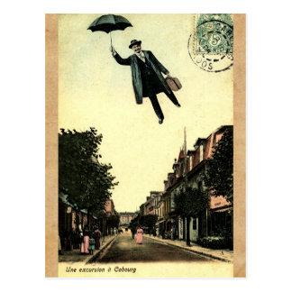 Hombre de vuelo elegante francés del paraguas del postal
