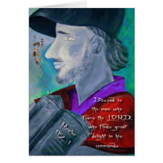Hombre del 112:1 del salmo con la tarjeta de