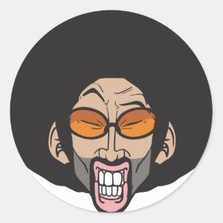 Hombre del Afro de Hiphop Pegatina Redonda