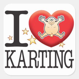 Hombre del amor de Karting Pegatina Cuadrada